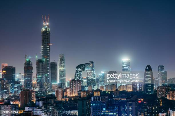 aerial view of beijing skyline at night - beijing stock pictures, royalty-free photos & images