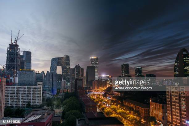 Aerial View of Beijing Skyline, Day to Night