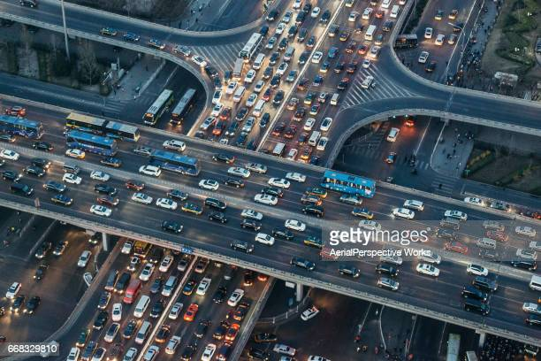 Aerial View of Beijing Traffic Jam at Dusk