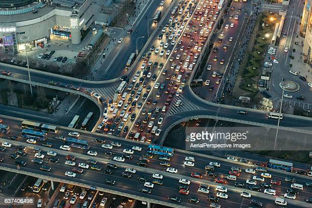 aerial view of beijing traffic jam - traffico foto e immagini stock