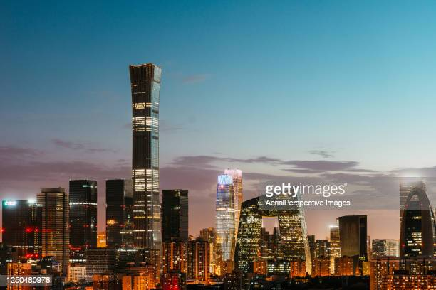 aerial view of beijing urban skyline at dusk - beijing stock pictures, royalty-free photos & images