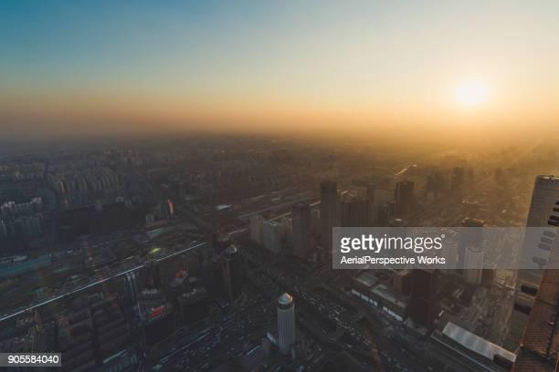 Aerial view of Beijing Urban Skyline in Sunlight