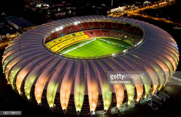 Aerial view of Beira-Rio Stadium ahead of a match between Brazil and Ecuador as part of South American Qualifiers for Qatar 2022 on June 04, 2021 in...
