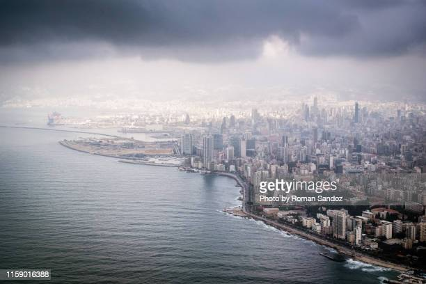 aerial view of beirut - beirut stock pictures, royalty-free photos & images