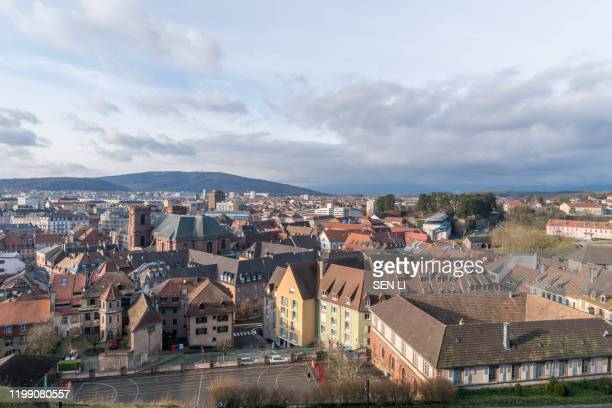 aerial view of belfort cityscape from belfort castle - france stock pictures, royalty-free photos & images