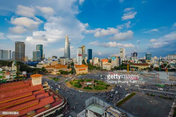 aerial view of ben thanh market at ho chi minh city, viet nam - thiem stock pictures, royalty-free photos & images