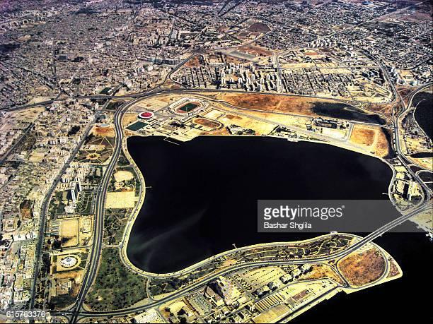 aerial view of benghazi city - ベンガジ ストックフォトと画像