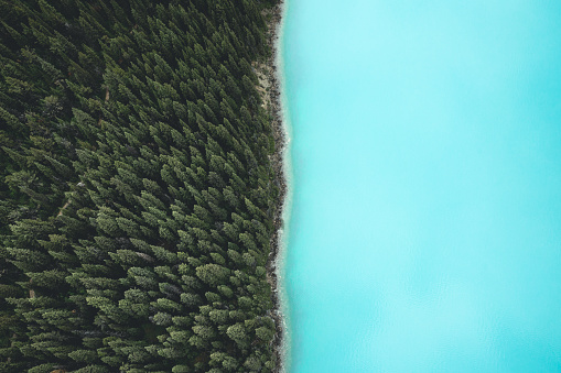 Aerial view of Berg Lake, British Columbia, Canada. - gettyimageskorea