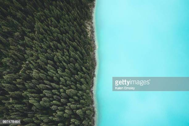Aerial view of Berg Lake, British Columbia, Canada.
