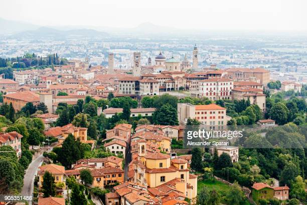 aerial view of bergamo old town cityscape, lombardy, italy - lombardy stock pictures, royalty-free photos & images