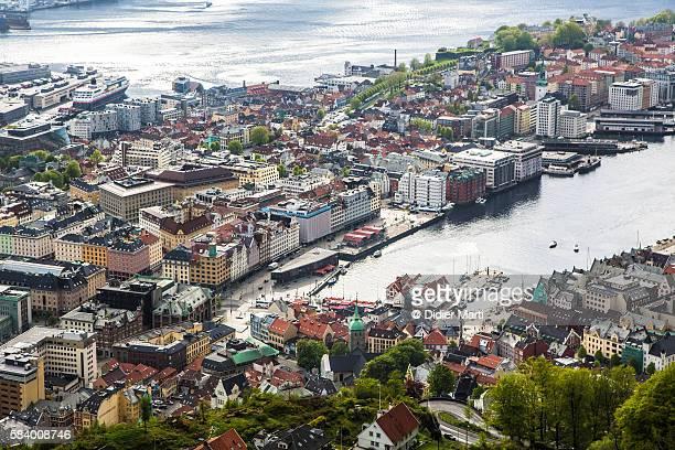Aerial view of Bergen in Norway