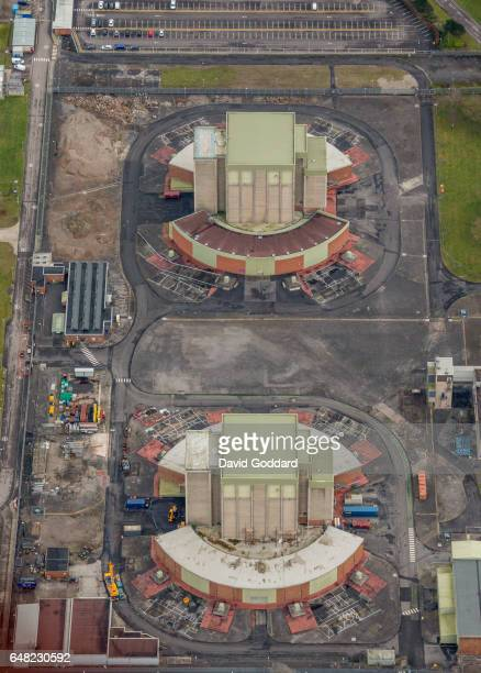 KINGDOM FEBRUARY 05 Aerial view of Berkeley Nuclear Power Station on February 05 2017 The 27 hectare site on the eastern bank of the river seven...