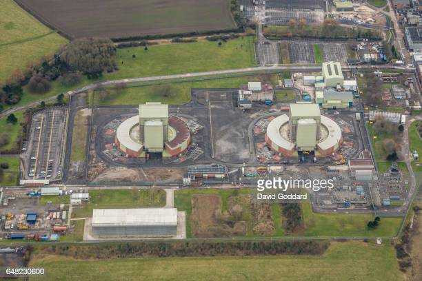Aerial view of Berkeley Nuclear Power Station on February 05, 2017. The 27 hectare site, on the eastern bank of the river seven, Gloucestershire is...
