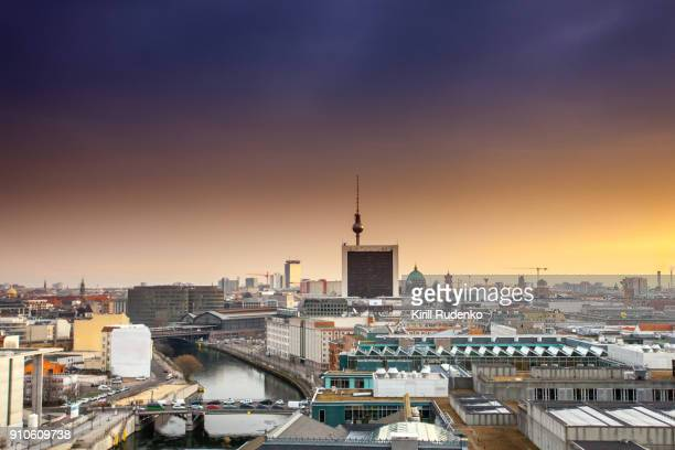 Aerial view of Berlin city center at sunrise