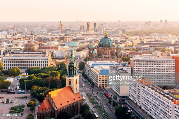 aerial view of berlin skyline at sunset - central berlin stock pictures, royalty-free photos & images