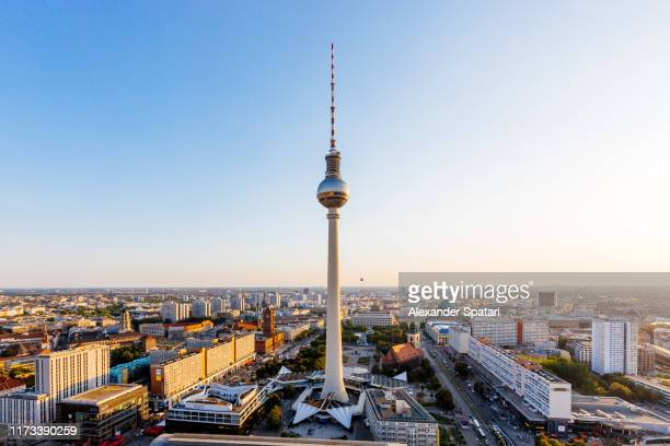 aerial view of berlin skyline with frehnsehturm tv tower, berlin, germany - berlin stock pictures, royalty-free photos & images