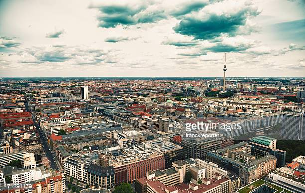 aerial view of berlin with alexanderplatz tv tower - germany - central berlin stock photos and pictures
