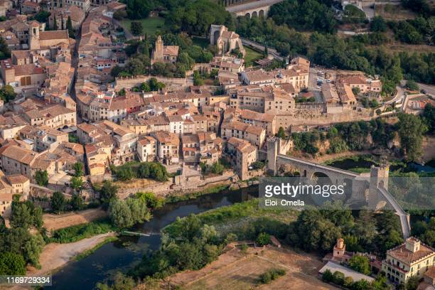 aerial view of besalu, la garrotxa, gerona province, catalonia, spain - catalonia stock pictures, royalty-free photos & images