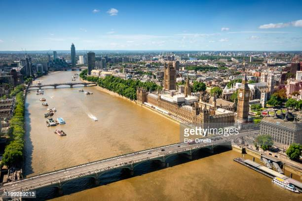 aerial view of big ben and the house of parliament and thames river in london - central london stock pictures, royalty-free photos & images