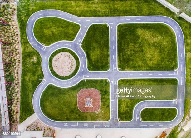 Aerial view of bike track in Oamaru, Otago, South Island, New Zealand.