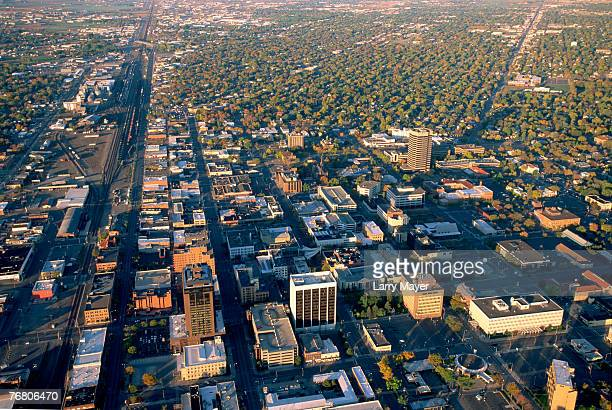 aerial view of billings, montana - billings montana stock pictures, royalty-free photos & images