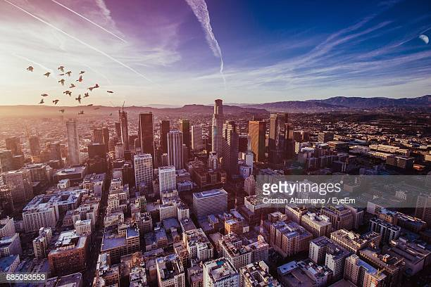 Aerial View Of Birds Flying Over Cityscape Against Sky