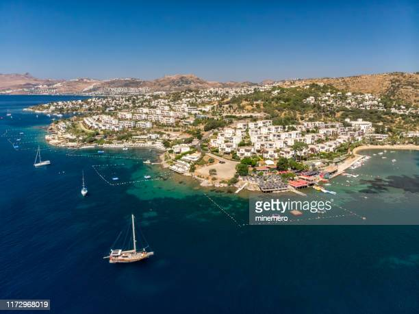 aerial view of bitez in bodrum - mugla province stock pictures, royalty-free photos & images