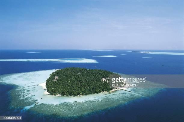 Aerial view of Biyadhoo Island South Male Atoll Maldives