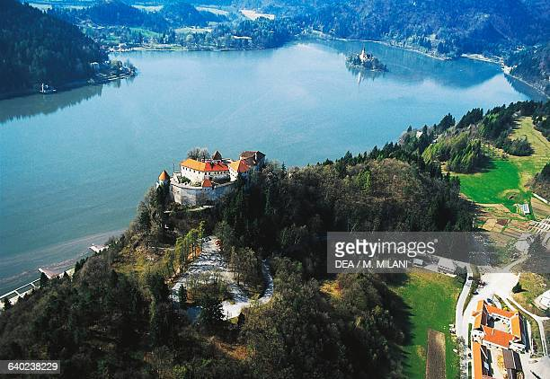 Aerial view of Bled castle overlooking the lake of the same name Triglav national park Slovenia