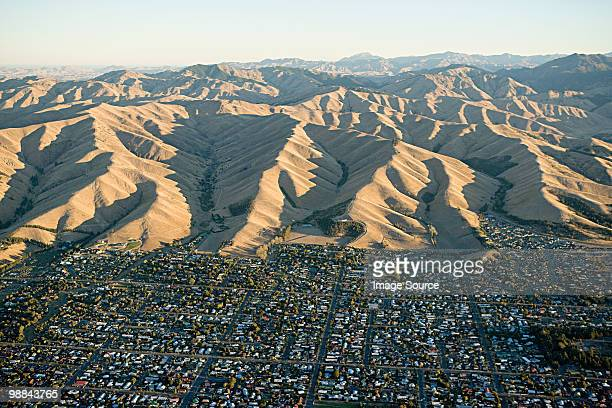 aerial view of blenheim and kaikoura range - blenheim new zealand stock pictures, royalty-free photos & images