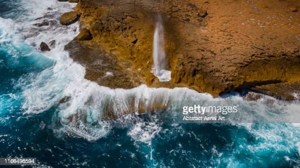 aerial view of blowhole, carnarvon, australia - carnarvon western australia stock photos and pictures