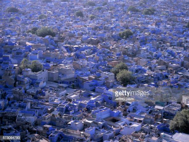 aerial view of blue city cityscape, jodhpur, rajasthan, india - jodhpur stock pictures, royalty-free photos & images