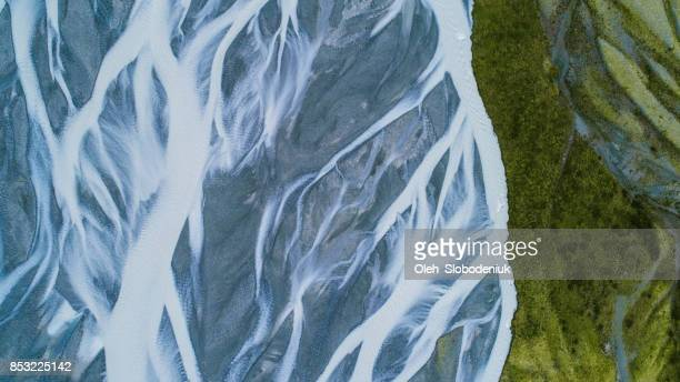 aerial view of  blue river in the mountains - natural pattern stock pictures, royalty-free photos & images