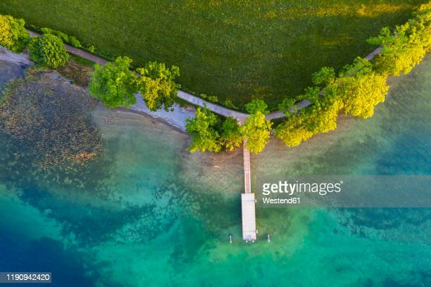 aerial view of boat dock kaltenbrunn, tegernsee, upper bavaria, bavaria, germany - tegernsee stock pictures, royalty-free photos & images
