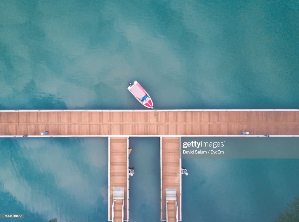 Aerial View Of Boat In Marina : Stock Photo