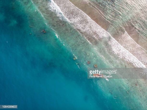 aerial view of boat in sea - terengganu stock pictures, royalty-free photos & images