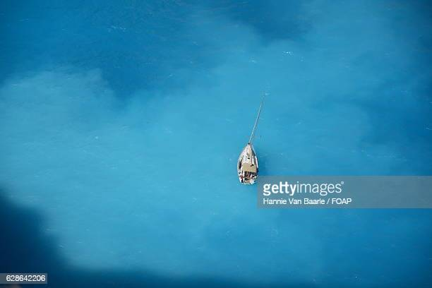Aerial view of boat on water