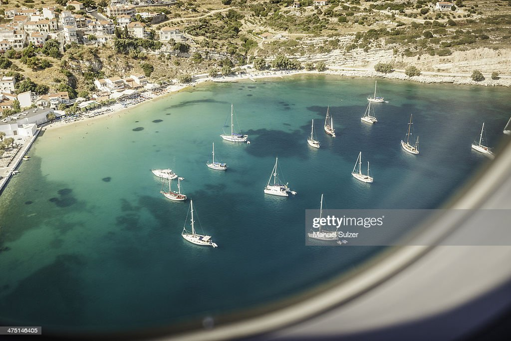 Aerial view of boats in bay at Pythagoreio, Samos, Greece : Stock Photo