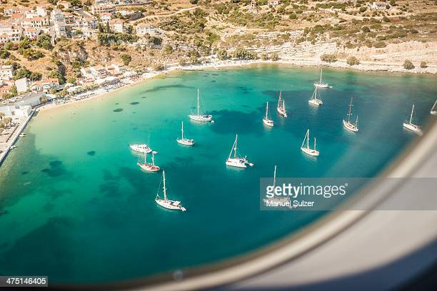 Aerial view of boats in bay at Pythagoreio, Samos, Greece