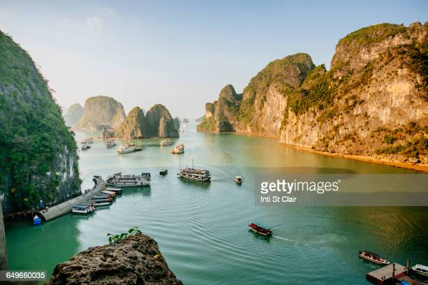 Aerial view of boats in Ha Long Bay, Vietnam