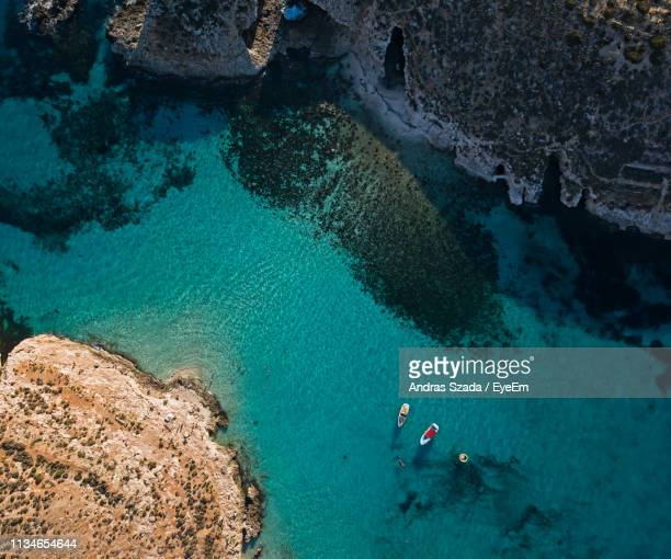 aerial view of boats in sea - malta stock pictures, royalty-free photos & images