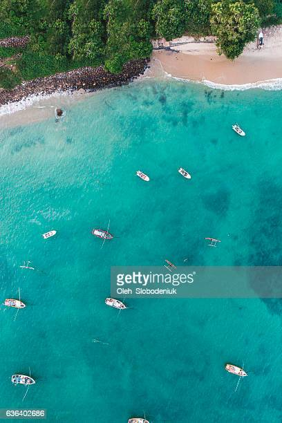 Aerial view of boats in the  bay