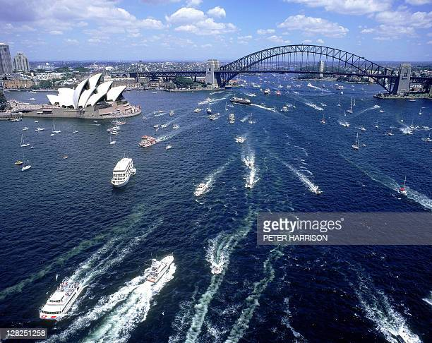 aerial view of boats on harbour for australia day 1999, sydney, nsw - 1999 stock pictures, royalty-free photos & images