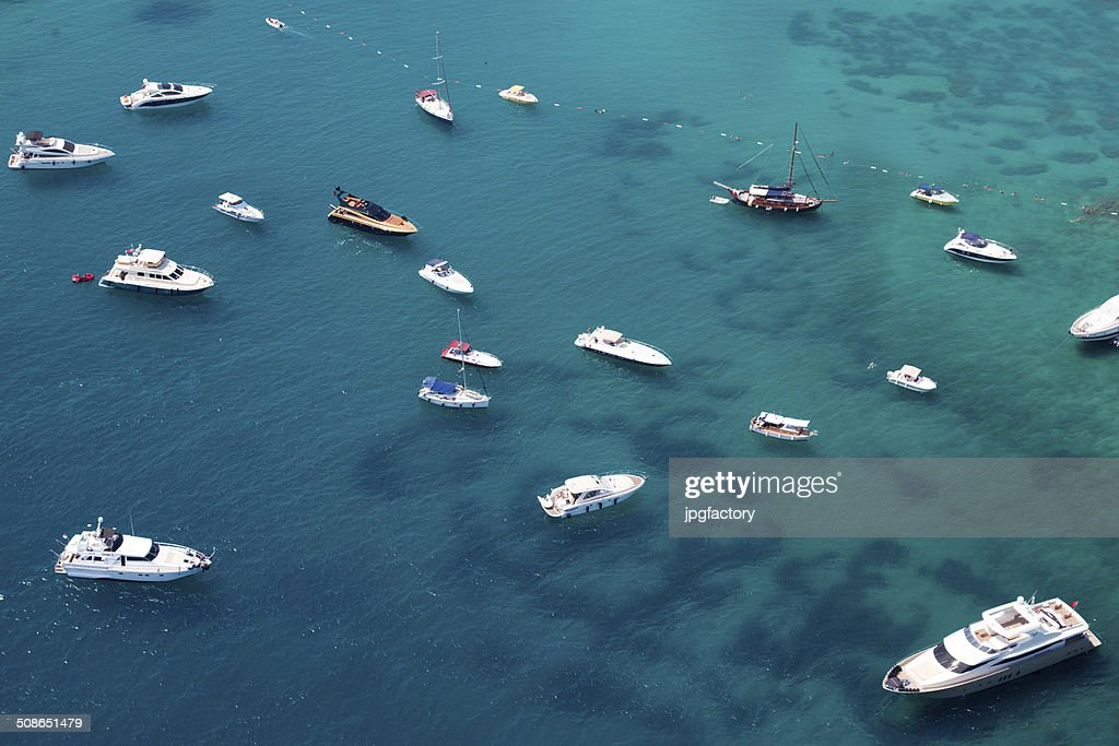 aerial view of boats : Stock Photo