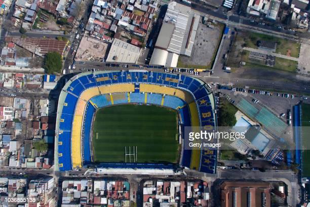 Aerial view of Boca Juniors' Alberto J Armando Stadium on September 13 2018 in Buenos Aires Argentina