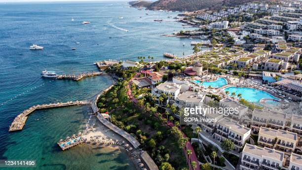 Aerial view of Bodrum Beach. One of most popular touristic districts of Turkey, Bodrum municipal of Mugla continues to attract tourists from all over...