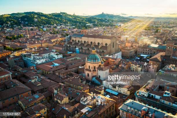 """aerial view of bologna, image taken from the famous """"asinelli"""" tower, bologna, italy - bologna stock pictures, royalty-free photos & images"""