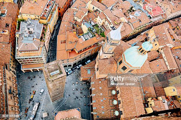 Aerial view of Bologna old town, Emilia-Romagna, Italy