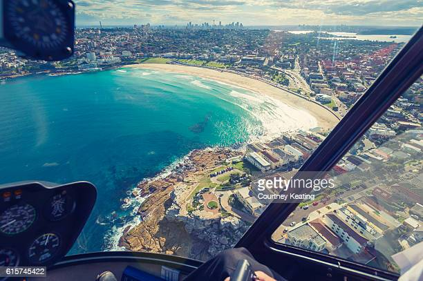 Aerial view of Bondi beach.