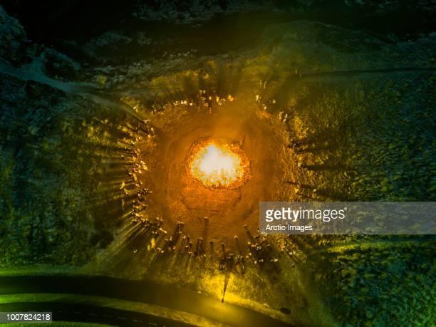 aerial view of bonfire, reykjavik, iceland - アウトドアファイヤー ストックフォトと画像